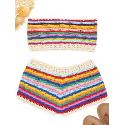 Colorful Strapless Crochet Top and ShortsWomens Swimwear<br>Colorful Strapless Crochet Top and Shorts<br><br>Embellishment: Crochet<br>Gender: For Women<br>Material: Cotton, Polyester<br>Package Contents: 1 x Top  1 x Shorts<br>Pattern Type: Striped<br>Weight: 0.2400kg