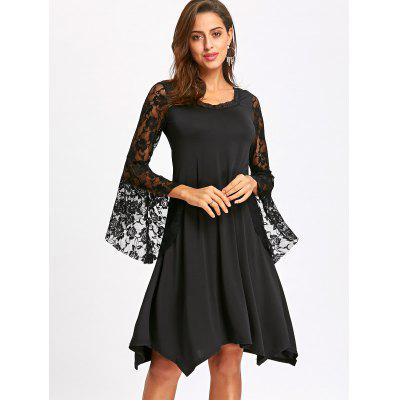 Lace Flare Sleeve Handkerchief DressWomens Dresses<br>Lace Flare Sleeve Handkerchief Dress<br><br>Dresses Length: Knee-Length<br>Embellishment: Lace<br>Material: Polyester<br>Neckline: Round Collar<br>Occasion: Office, Evening, Night Out, Casual<br>Package Contents: 1 x Dress<br>Pattern Type: Floral<br>Season: Fall, Spring<br>Silhouette: A-Line<br>Sleeve Length: Long Sleeves<br>Style: Brief<br>Weight: 0.4100kg<br>With Belt: No