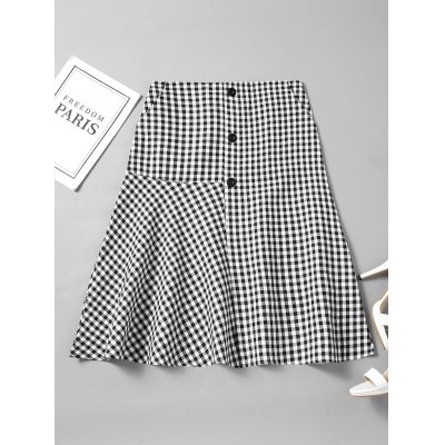 Checked Buttoned Flounces A Line Skirt
