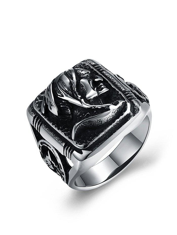 Human Pattern Carved Gothic Style Biker Ring
