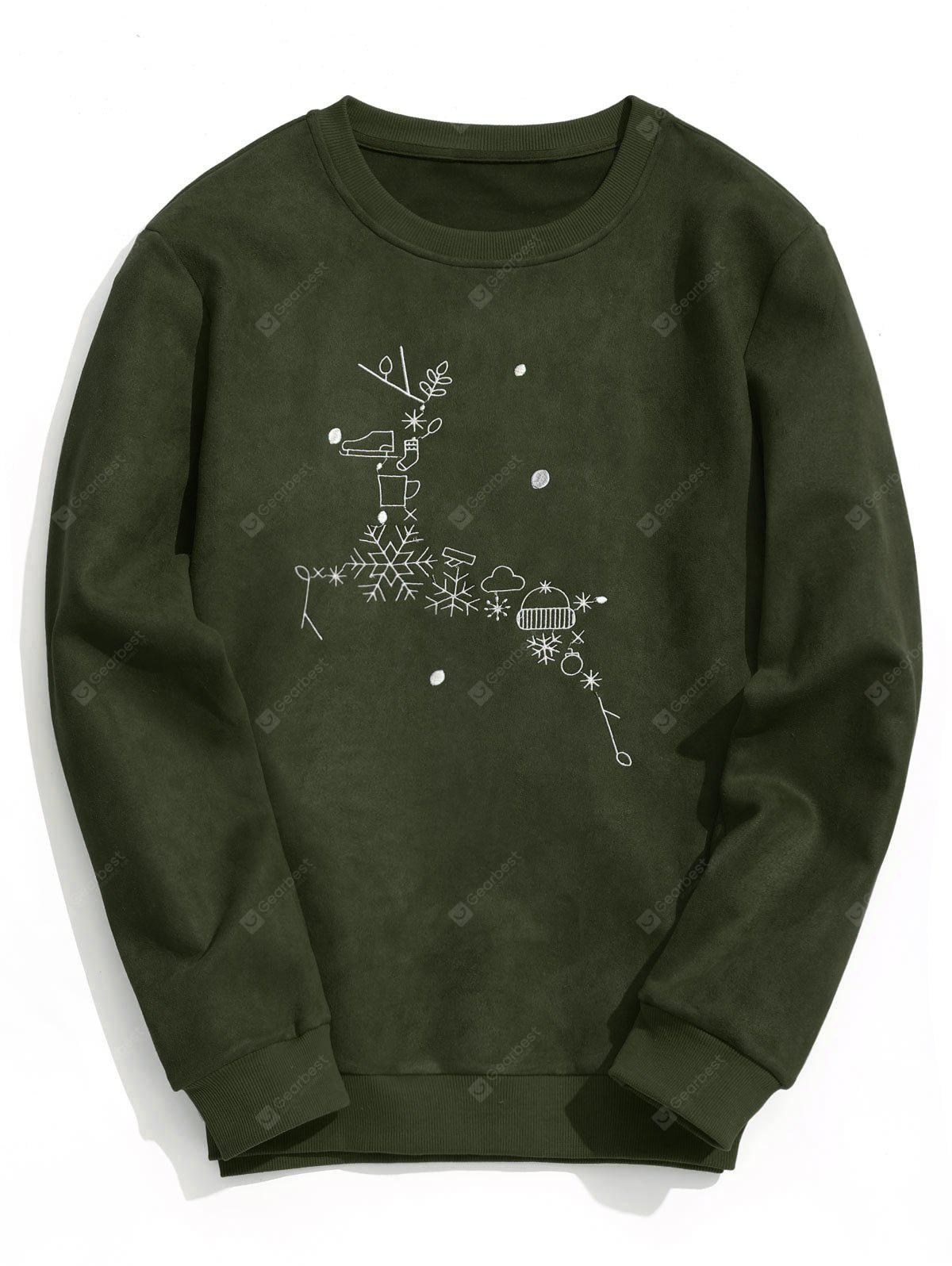 Christmas Reindeer Embroidered Suede Sweatshirt