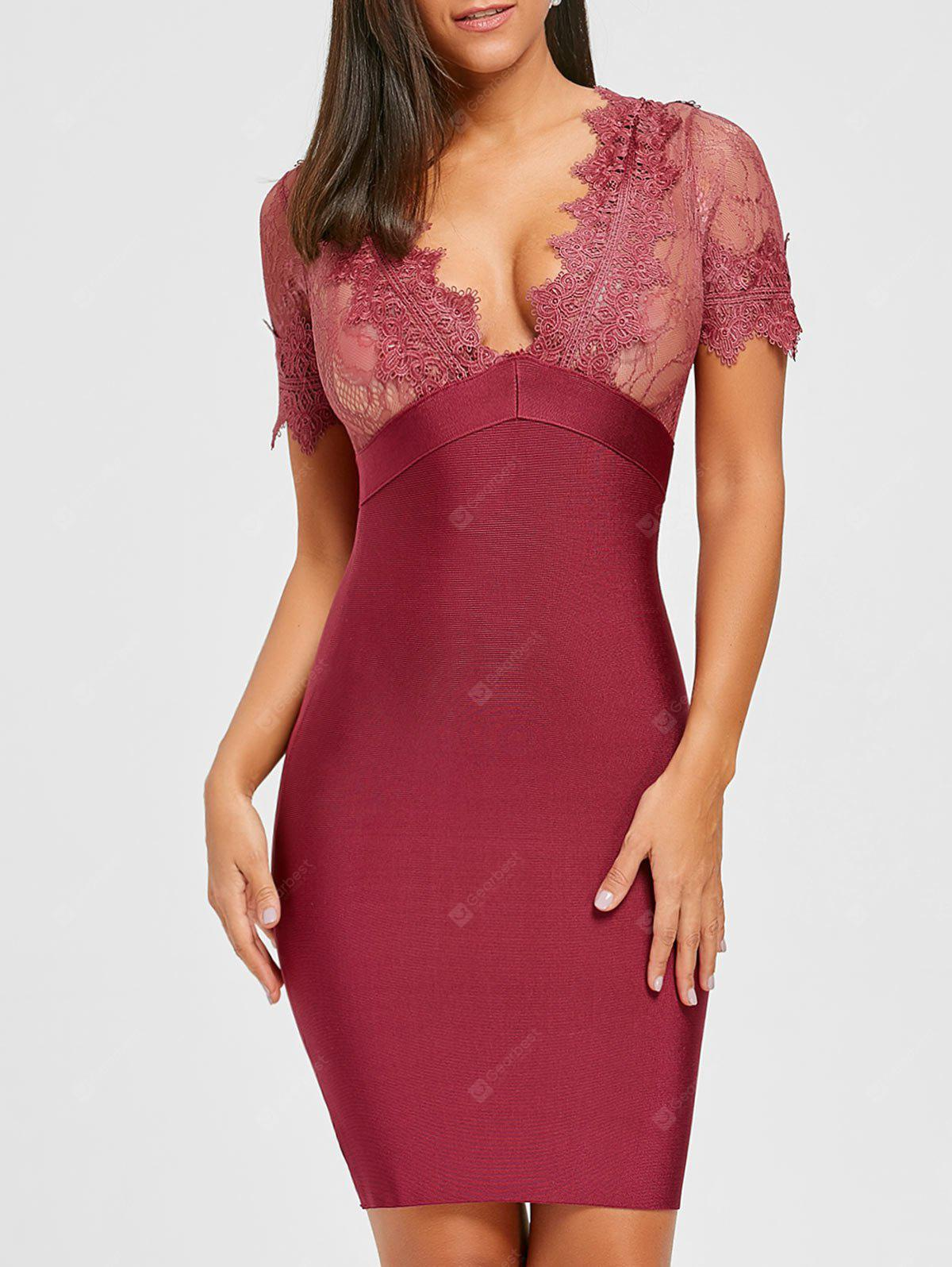 RED M Lace Insert Plunging Neck Bandage Dress
