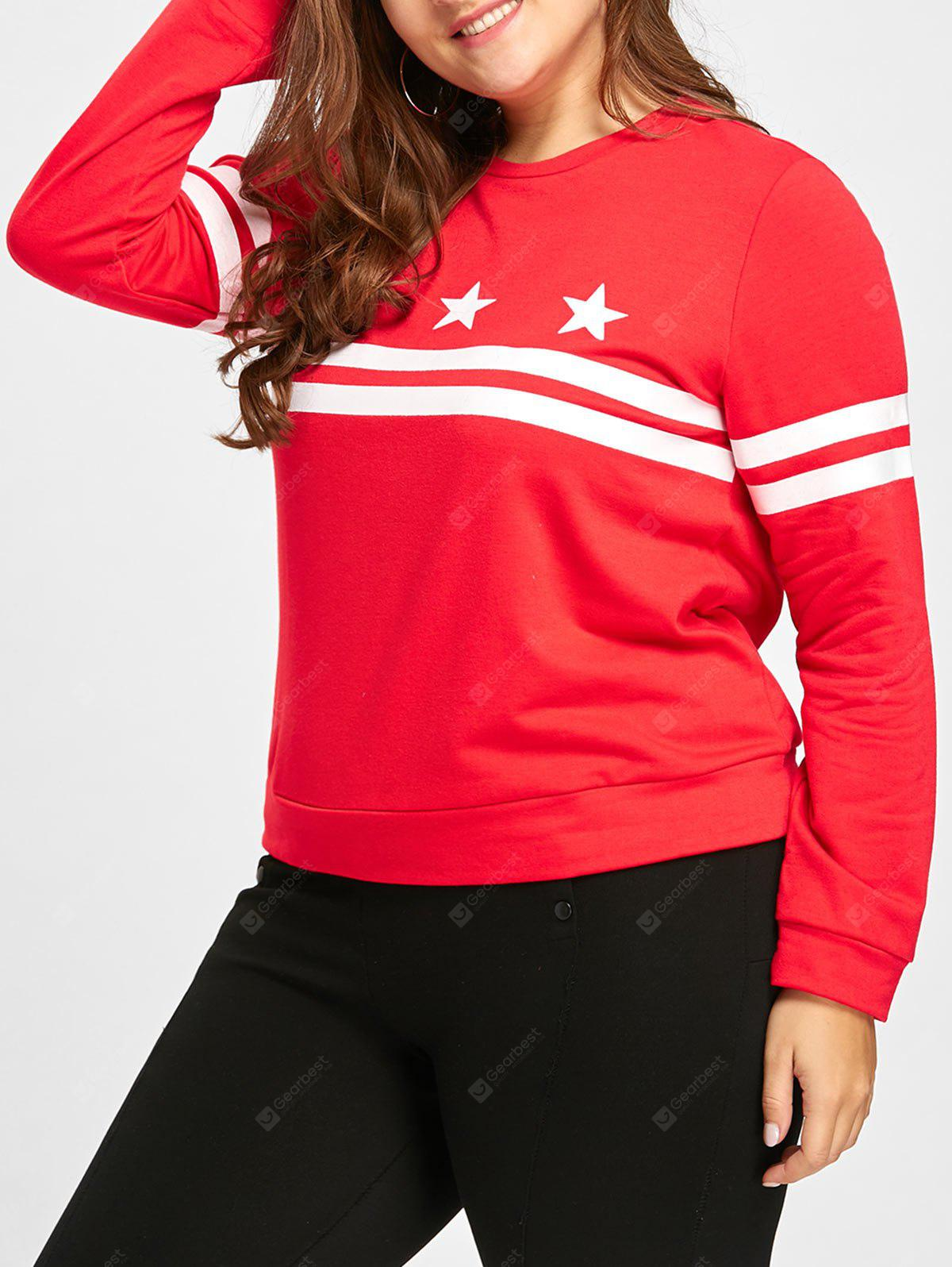 Plus Size Stripe Stars Graphic Long Sleeve T-shirt