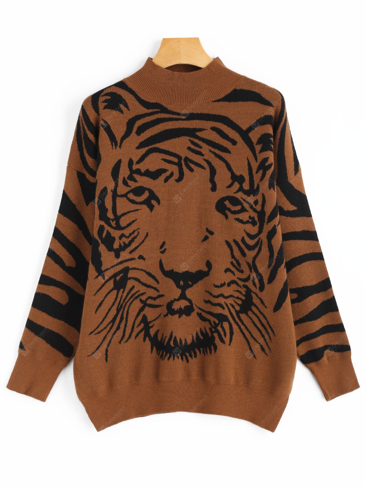 Tiger Face Graphic Jersey de cuello alto