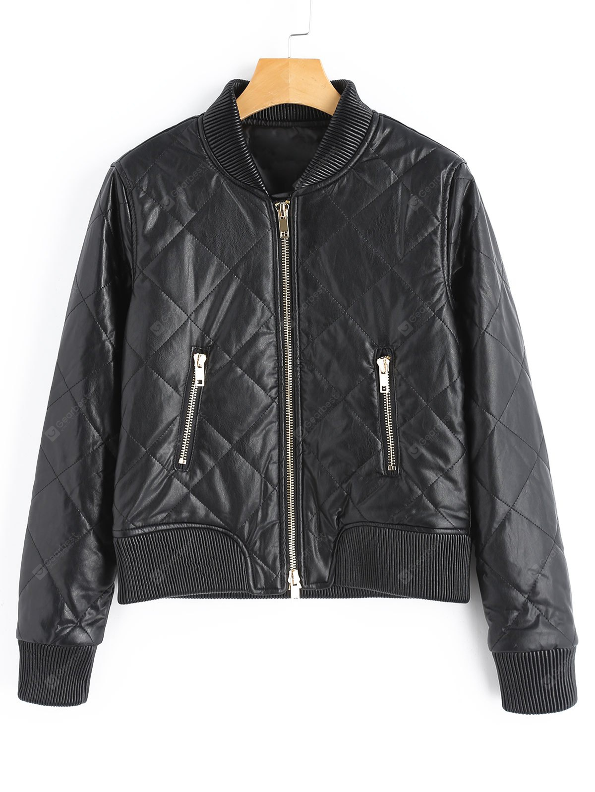 PU Leather Zip Up Jacket with Pockets