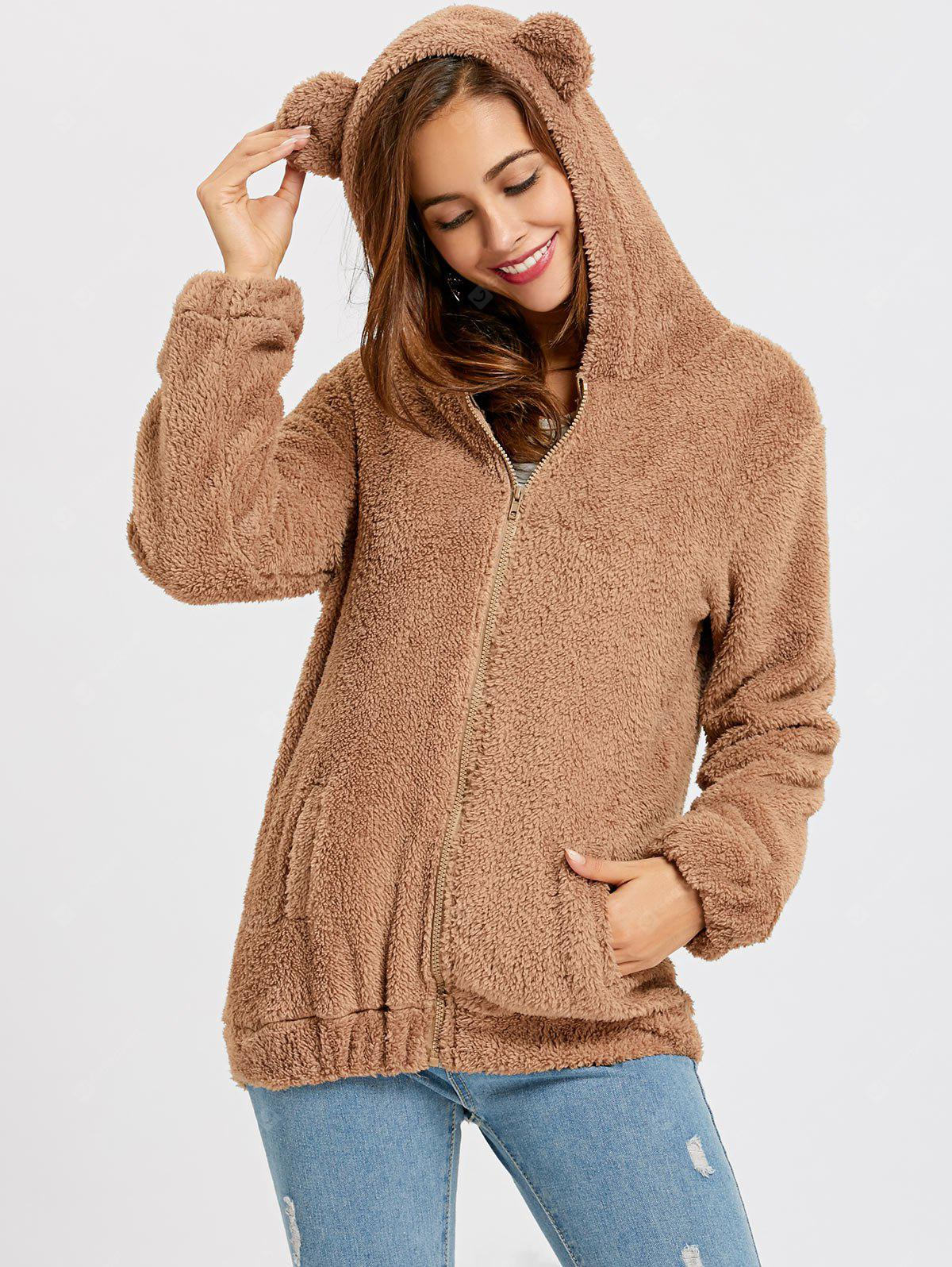 Fuzzy Zip Up Bear sudadera con capucha