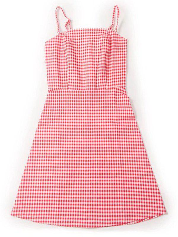Checked Slip Back Zipper Mini Dress