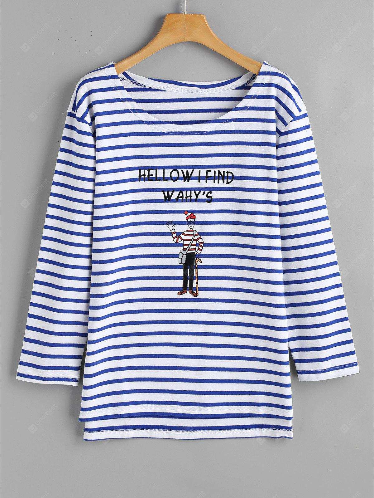 Cartoon Striped Letter Top