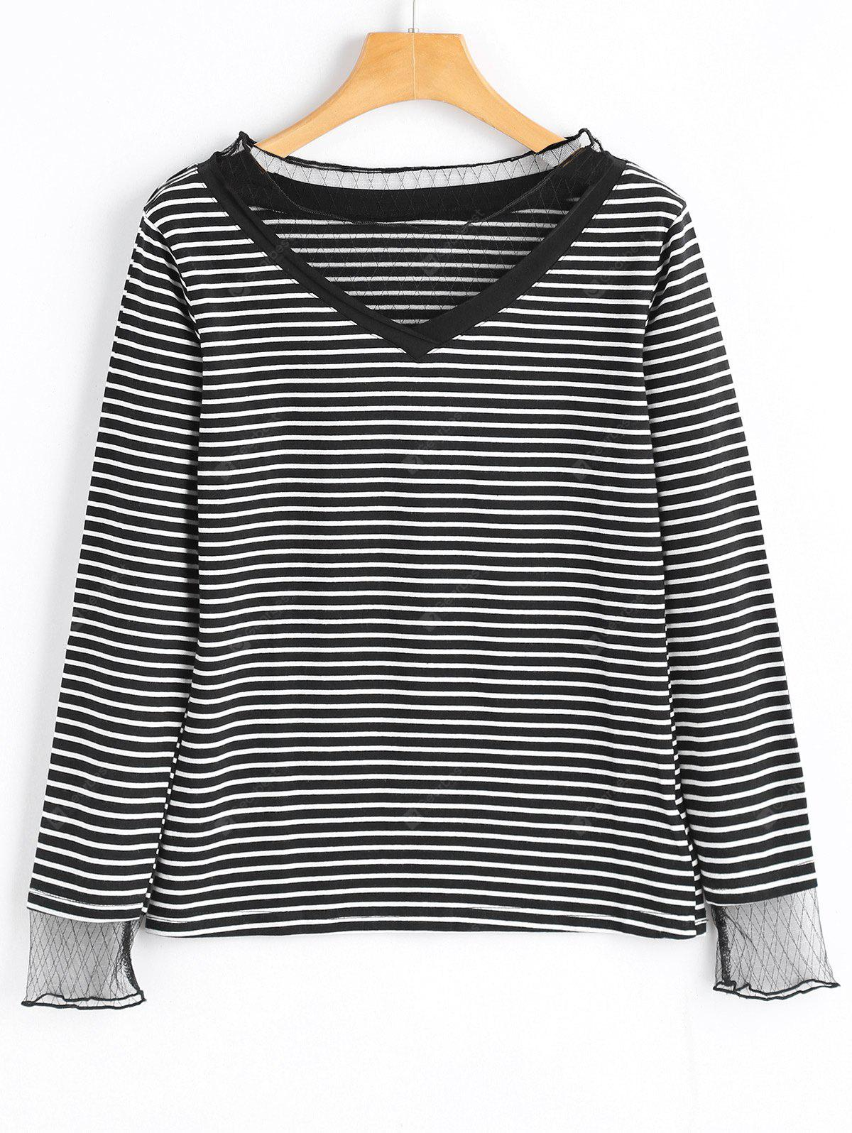 Voile Panel Striped Long Sleeve Top