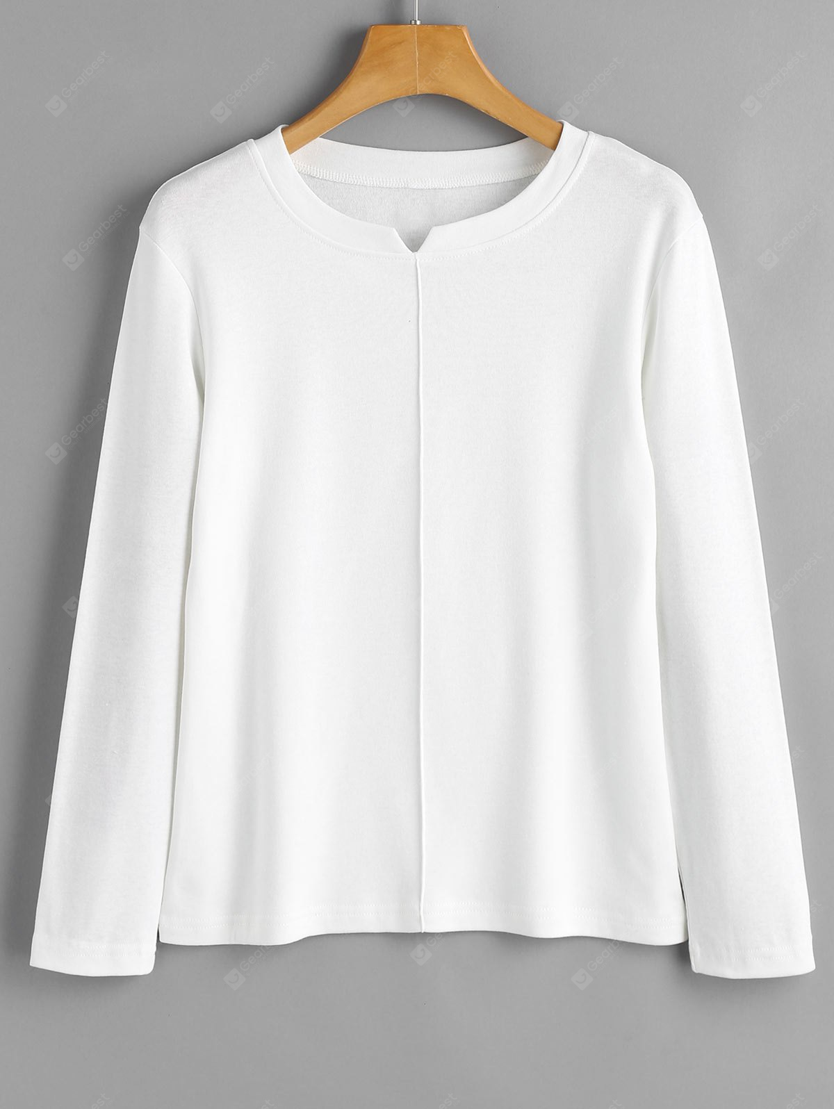 Slit Collar Long Sleeve Layering Top