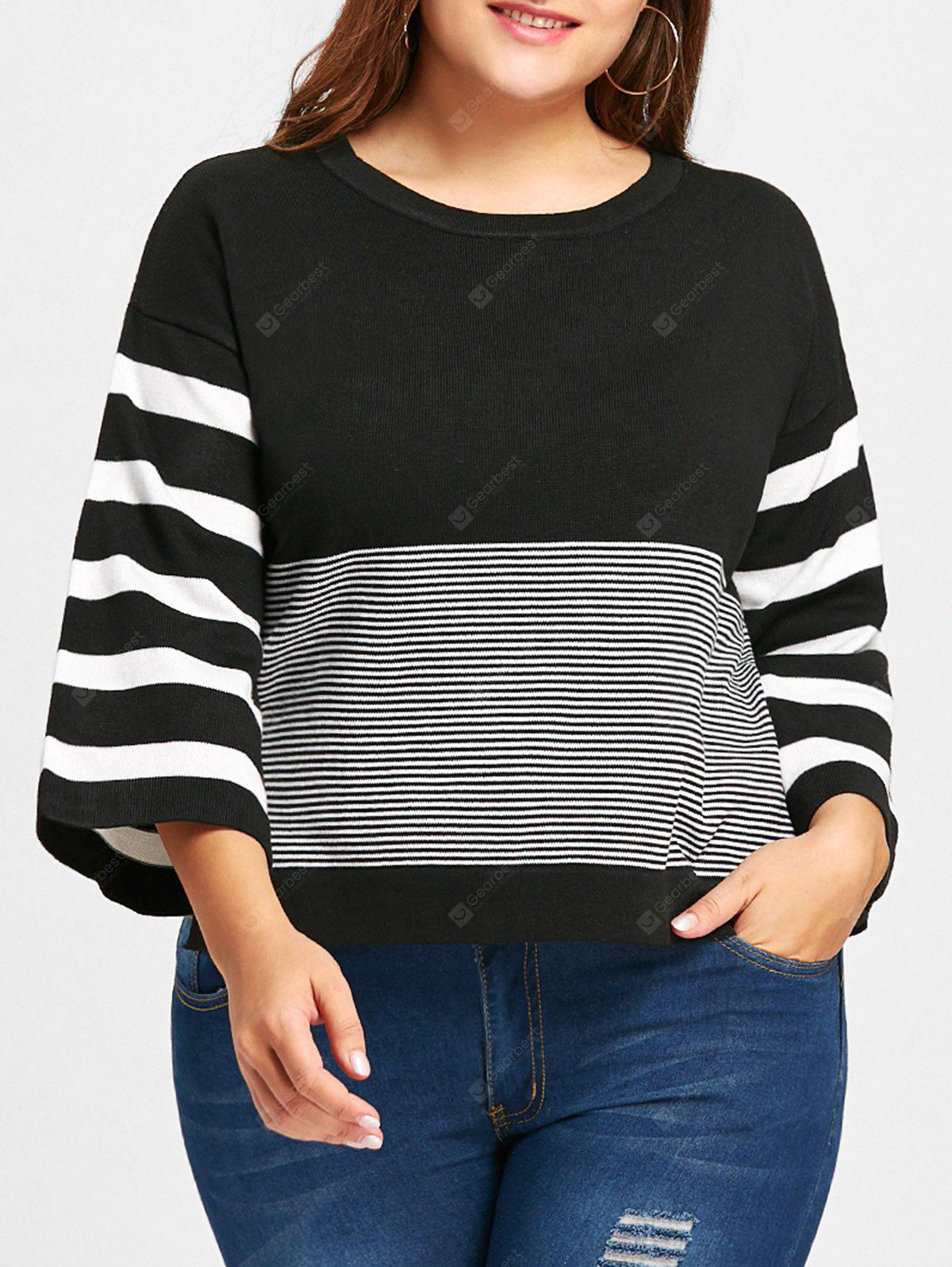 Pull en Tricot Style Haut-Bas à Rayures Grande-Taille