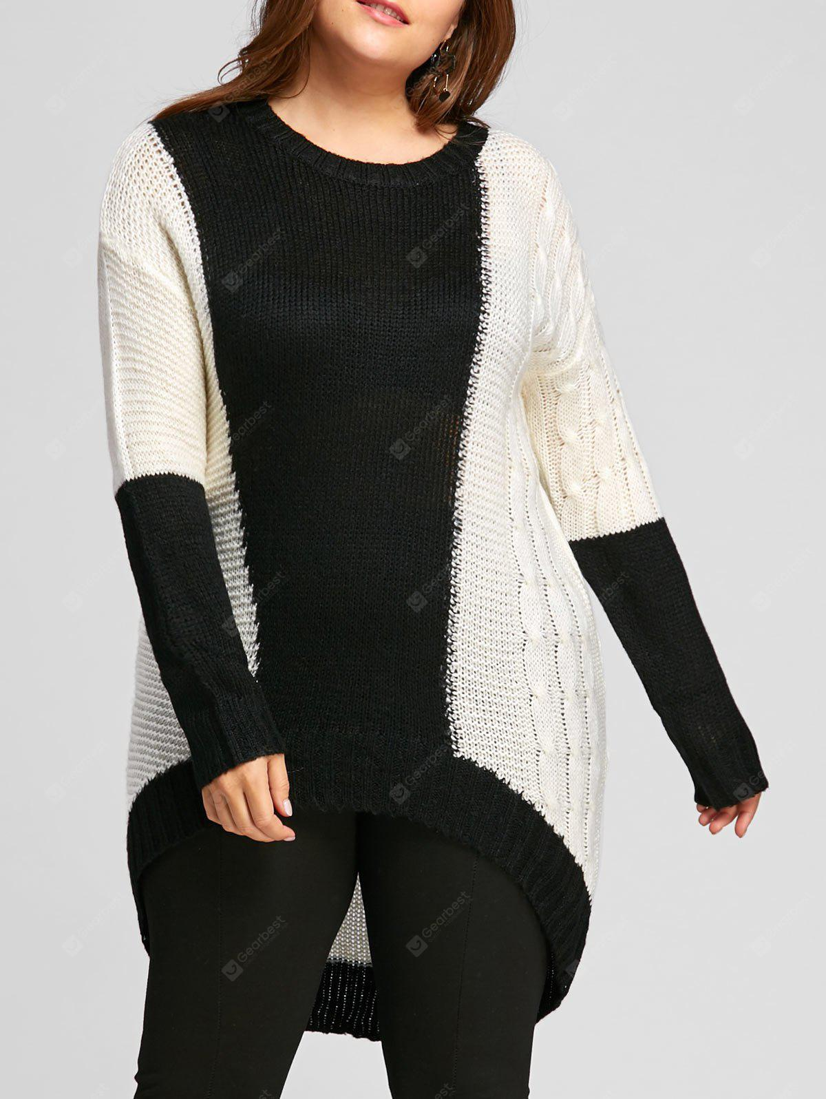 Plus Size Color Block Chunky Knit High Low  Sweater - WHITE AND BLACK
