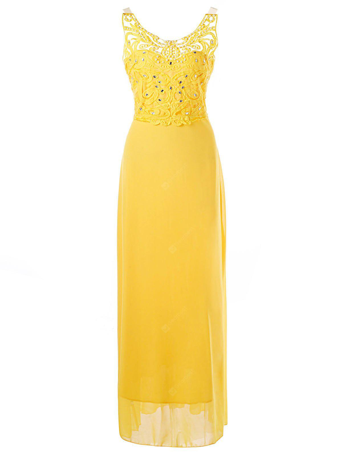 Backless Beaded Applique Prom Dress