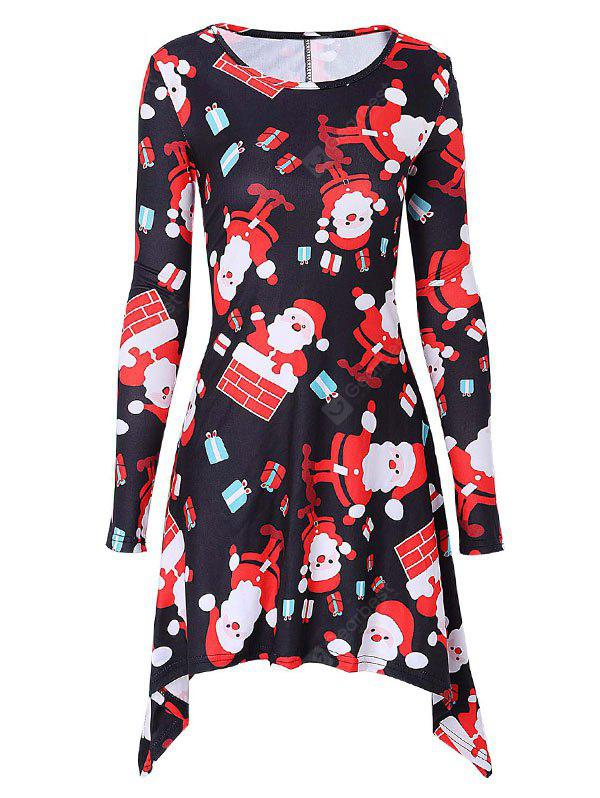 Christmas Santa Claus Print Mini Swing Dress
