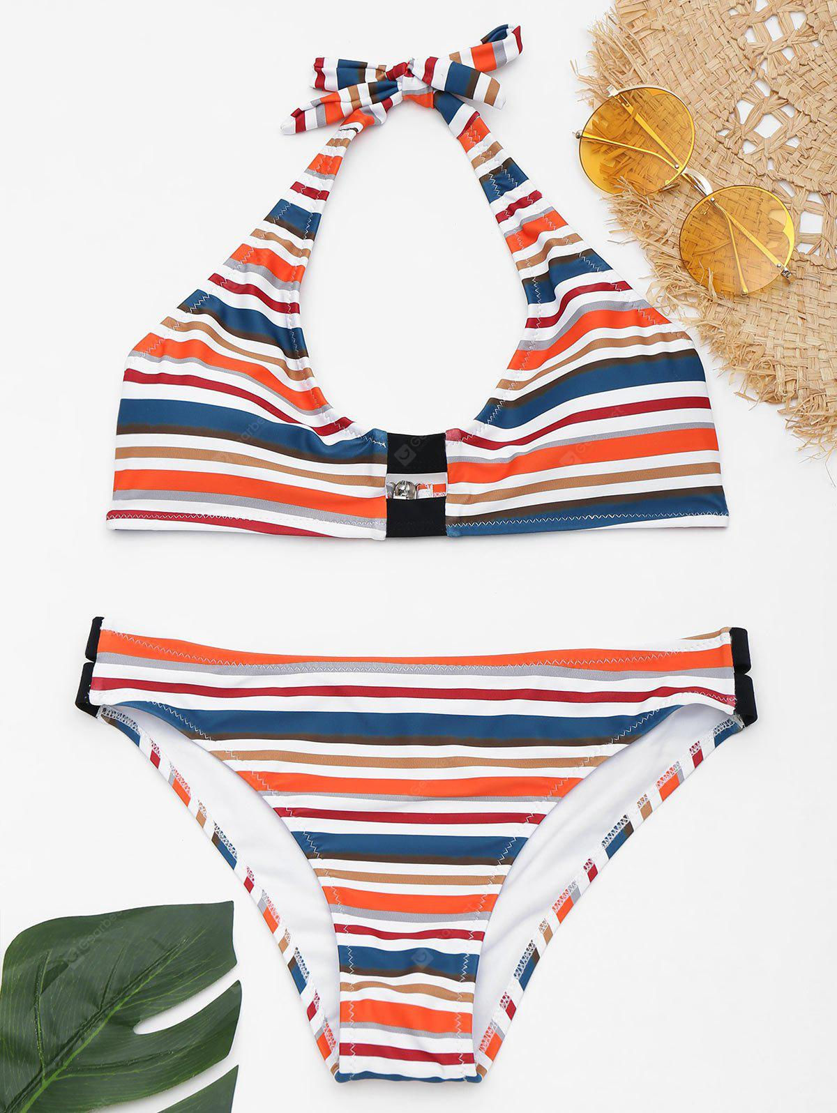 Striped Halter Bikini with Padded Cups