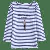 Cartoon Striped Letter Top - STRIPE