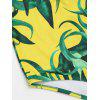 Low Back Printed One Piece Swimwear - YELLOW