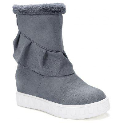 Buy GRAY 38 Slip On Suede Ruched Boots for $33.99 in GearBest store