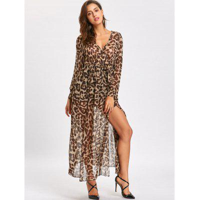 Leopard Print High Slit Maxi Surplice DressWomens Dresses<br>Leopard Print High Slit Maxi Surplice Dress<br><br>Dresses Length: Floor-Length<br>Material: Polyester<br>Neckline: V-Neck<br>Package Contents: 1 x Dress  1 x Belt<br>Pattern Type: Leopard<br>Season: Fall, Spring<br>Silhouette: A-Line<br>Sleeve Length: Long Sleeves<br>Style: Brief<br>Weight: 0.3500kg<br>With Belt: Yes