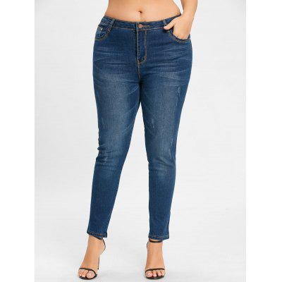 Plus Size Light Wash Zipper Jeans