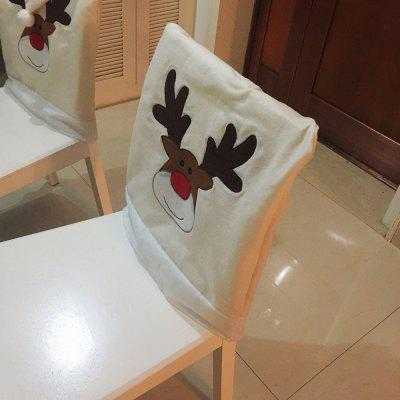 1PCS Christmas Elk Nonwoven Embroidered Chair Cover