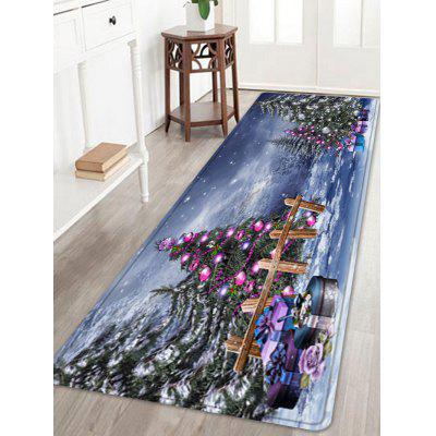 Christmas Trees Gifts Pattern Water Absorption Area Rug