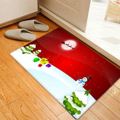 Christmas Moon Snowman Pattern Water Absorption Area Rug
