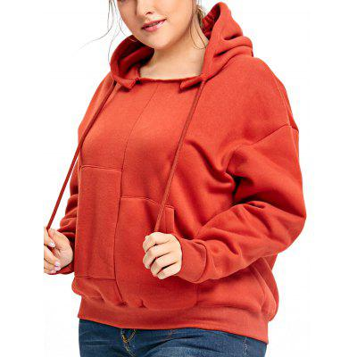 Plus Size Fleece Lined Drop Shoulder Hoodie