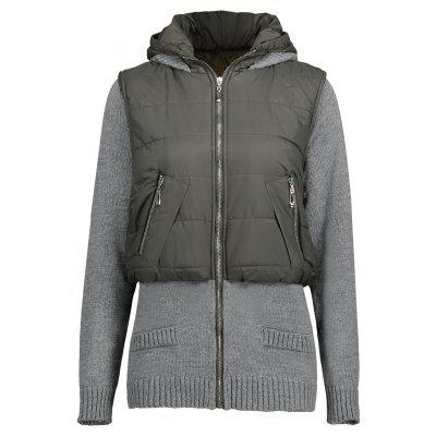 Buy GREEN + GREY Hooded Knit Panel Faux Twinset Quilted Coat for $46.19 in GearBest store