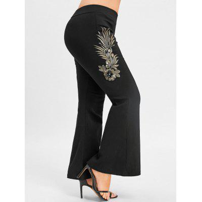 Buy BLACK 3XL Plus Size Floral Embroidered Flare Bottom Pants for $22.54 in GearBest store