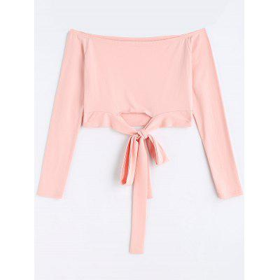 Off Shoulder Bowknot Cropped Top