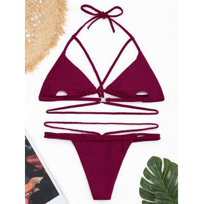 Plaited Strappy Shiny Banded Bikini SetLingerie &amp; Shapewear<br>Plaited Strappy Shiny Banded Bikini Set<br><br>Bra Style: Padded<br>Elasticity: Micro-elastic<br>Gender: For Women<br>Material: Polyester<br>Neckline: Halter<br>Package Contents: 1 x Bra  1 x Briefs<br>Pattern Type: Solid Color<br>Support Type: Wire Free<br>Swimwear Type: Bikini<br>Waist: Natural<br>Weight: 0.1700kg