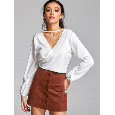 Choker Open Back Wrap Croppep TopBlouses<br>Choker Open Back Wrap Croppep Top<br><br>Collar: V-Neck<br>Embellishment: Bowknot<br>Material: Cotton, Polyester<br>Occasion: Casual<br>Package Contents: 1 x Top<br>Pattern Type: Solid<br>Seasons: Autumn,Spring<br>Shirt Length: Short<br>Sleeve Length: Full<br>Style: Fashion<br>Weight: 0.2200kg