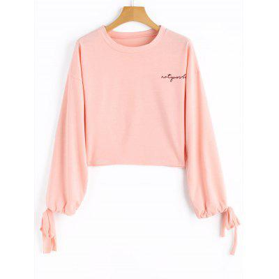 Buy PINK L Letter Drawstring Sleeve Cropped Sweatshirt for $20.83 in GearBest store