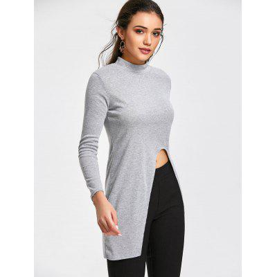 High Slit Mock Neck Longline TopTees<br>High Slit Mock Neck Longline Top<br><br>Collar: Mock Neck<br>Embellishment: Slit<br>Material: Cotton, Polyester<br>Package Contents: 1 x Top<br>Pattern Type: Solid<br>Seasons: Autumn,Spring,Spring/Fall<br>Sleeve Length: Full<br>Style: Fashion<br>Weight: 0.3300kg