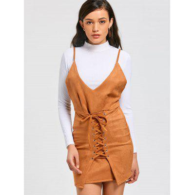 Lace Up Faux Suede Pinafore Mini DressMini Dresses<br>Lace Up Faux Suede Pinafore Mini Dress<br><br>Dress Type: Pinafore Dress<br>Dresses Length: Mini<br>Embellishment: Lace up<br>Material: Cotton, Faux Suede, Polyester<br>Neckline: Spaghetti Strap<br>Occasion: Casual, Going Out<br>Package Contents: 1 x Dress<br>Pattern Type: Solid<br>Season: Fall, Spring, Summer<br>Sleeve Length: Sleeveless<br>Weight: 0.4000kg<br>With Belt: No