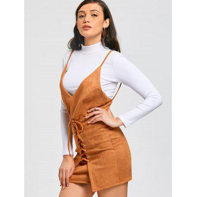 Lace Up Faux Suede Pinafore Mini Dress