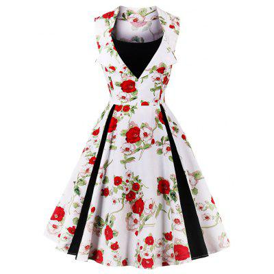 Vintage Floral Print Fit and Flare Party Dress