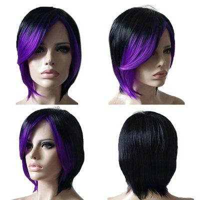 Short Inclined Bang Straight Colormix Synthetic Wig short