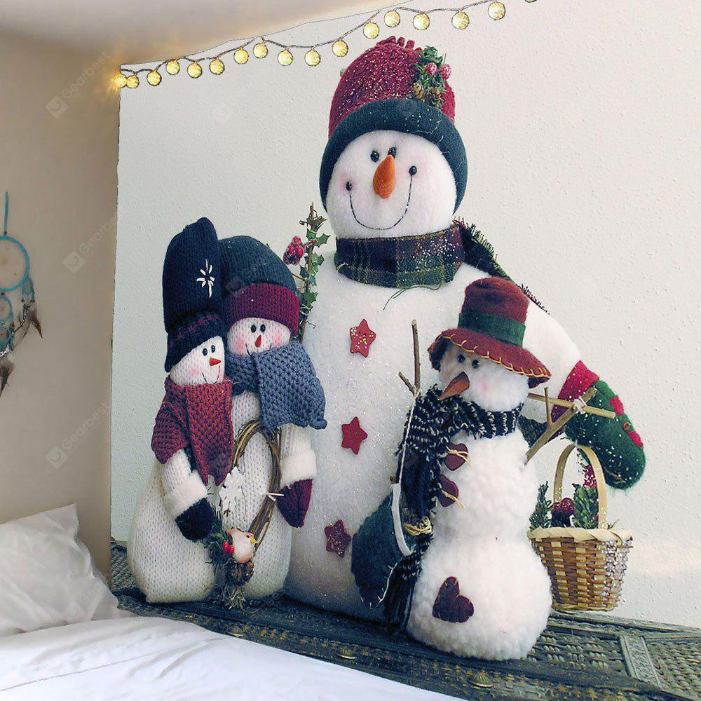 Snowman Family Printed Waterproof Wall Tapestry