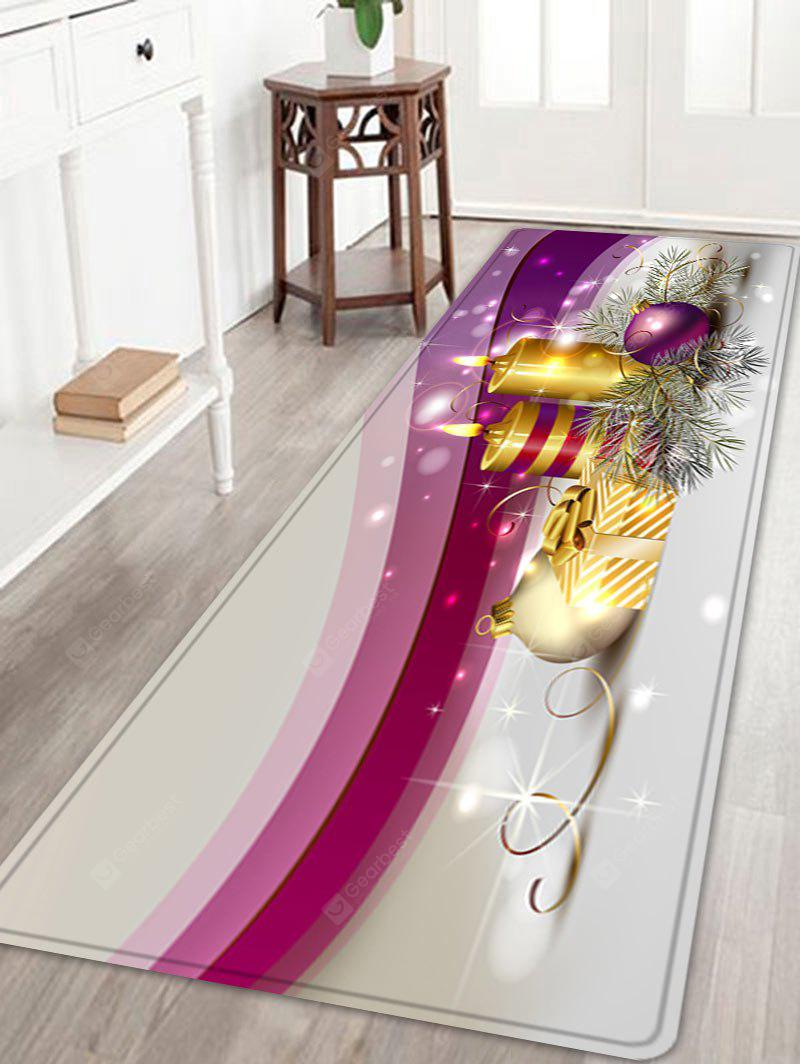 Christmas Balls Candles Pattern Water Absorption Area Rug