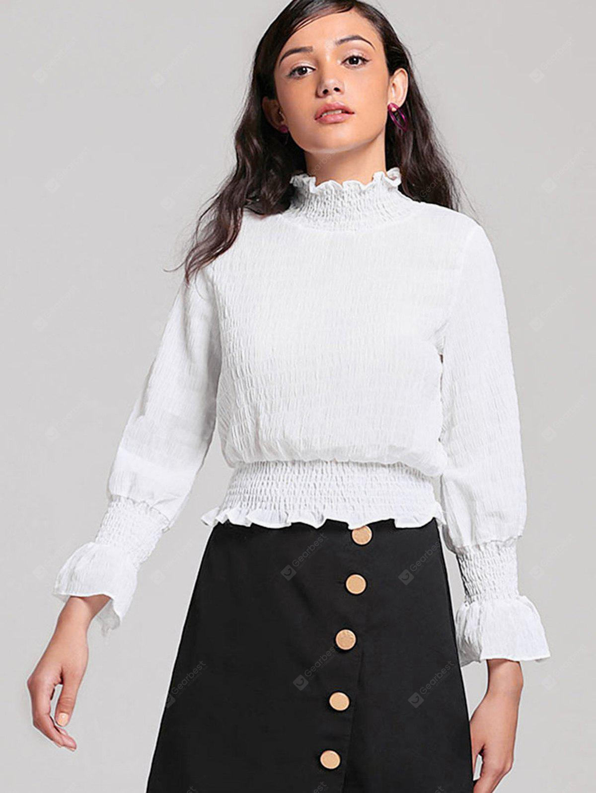 Ruffles Piped Smocked Panel Blouse