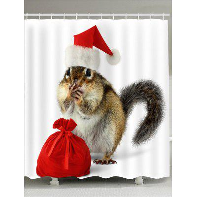 Christmas Squirrel And Bag Patterned Shower Curtain