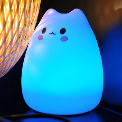 Remote Control Silicon Cat Colorful LED Night Light