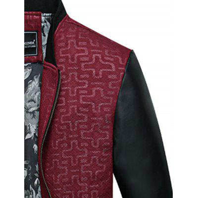 Geometric Print PU Leather Panel Zip Up JacketMens Jackets &amp; Coats<br>Geometric Print PU Leather Panel Zip Up Jacket<br><br>Closure Type: Zipper<br>Clothes Type: Jackets<br>Collar: Stand Collar<br>Material: Faux Leather, Polyester<br>Occasion: Holiday, Going Out, Party, Daily Use, Casual<br>Package Contents: 1 x Jacket<br>Season: Winter, Fall<br>Shirt Length: Regular<br>Sleeve Length: Long Sleeves<br>Style: Streetwear, Fashion, Casual<br>Weight: 0.7600kg