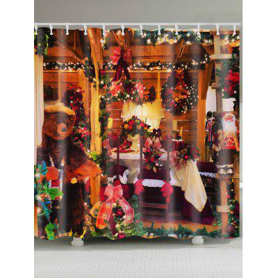 Christmas Cottage Printed Waterproof Shower Curtain