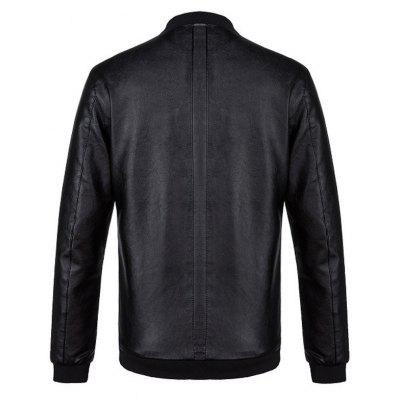 Ribbed Stand Collar Zip Up PU Leather JacketMens Jackets &amp; Coats<br>Ribbed Stand Collar Zip Up PU Leather Jacket<br><br>Closure Type: Zipper<br>Clothes Type: Leather &amp; Suede<br>Collar: Stand Collar<br>Material: Faux Leather, Polyester<br>Occasion: Holiday, Going Out, Party, Daily Use, Casual<br>Package Contents: 1 x Jacket<br>Season: Winter, Fall<br>Shirt Length: Regular<br>Sleeve Length: Long Sleeves<br>Style: Streetwear, Fashion, Casual<br>Weight: 0.7500kg