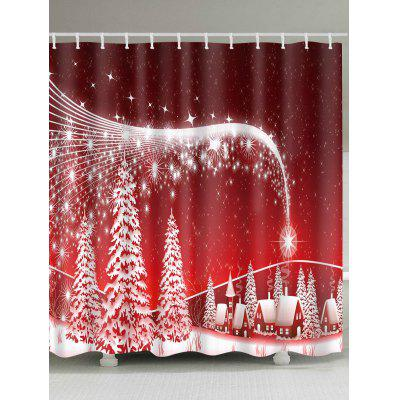 Christmas Snowscape Print Waterproof Polyester Shower Curtain