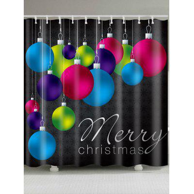 Colored Balls Printed Waterproof Christmas Shower Curtain