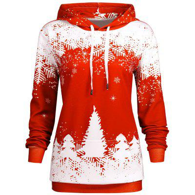 Plus Size Christmas Snowflake Tree Hoodie with Pocket